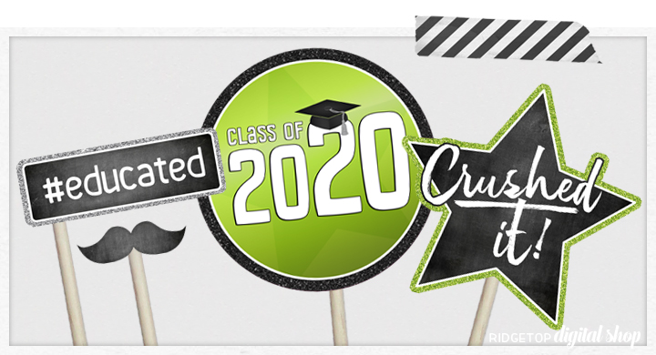 Class of 2020 Photo Booth Props   Hot PInk and Lime Party Planning   Printable Graduation Party Decor   Ridgetop Digital Shop