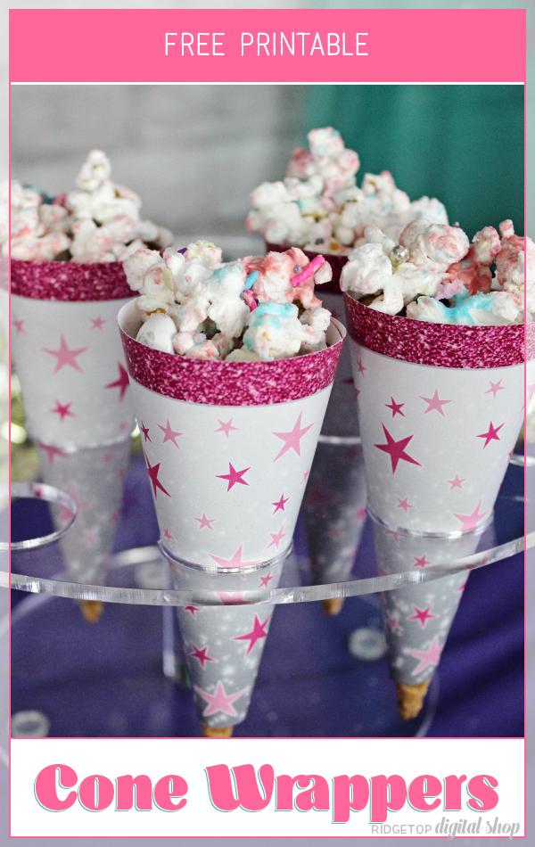 Birthday Cone Wrapper Free Printable | Pink Birthday Printable | Ridgetop Digital Shop