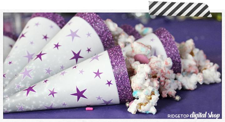 Birthday Cone Wrapper Free Printable | Purple Birthday Printable | Ridgetop Digital Shop