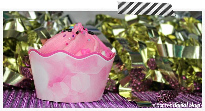 Pink Cupcake Wrapper Printable   Ridgetop Digital Shop