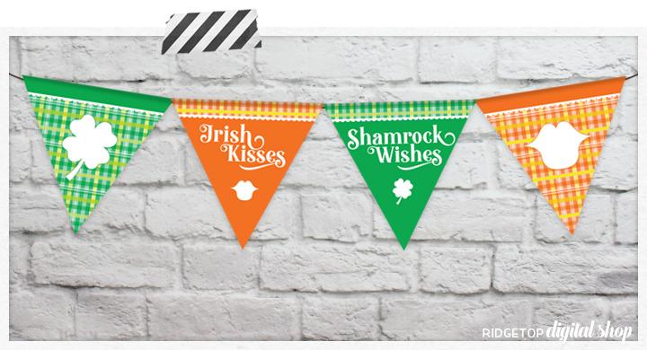 Snapshot: St. Patrick's Day Printable Banner | Free Printable Flag Garland | Irish Kisses | Shamrock Wishes | Ridgetop Digital Shop