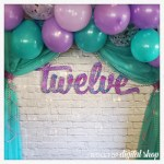 Photo Booth Backdrop – turquoise, purple, and pink
