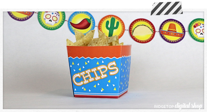 Chips Snack Box Free Printable | Taco Tuesday | Cinco de Mayo | Dia de los Muertos | Taco Theme | Mexico theme | Ridgetop Digital Shop