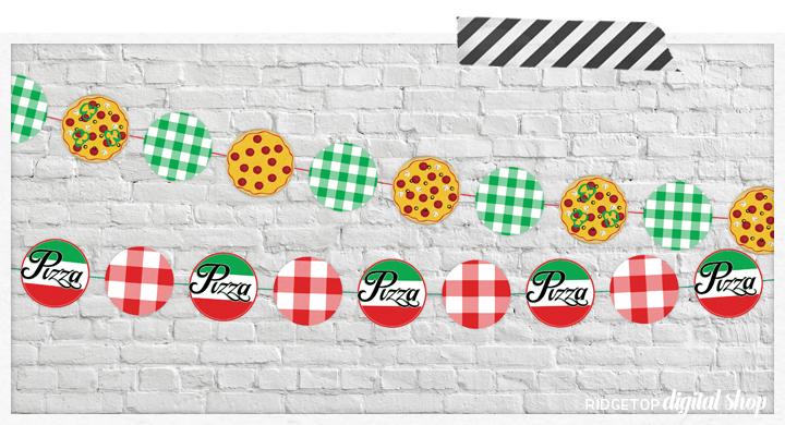 Pizza Party Garland and Cupcake Toppers Free Printable | Pizza Party Decor | Pizza Party Banner | Pizza Party Circle | Ridgetop Digital Shop