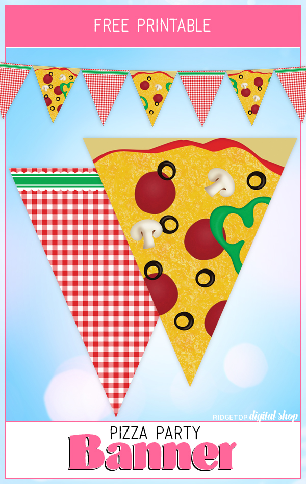 Pizza Party Banner Free Printable | Pizza Party Theme | Pizza Party Decor | Pizza Printable Free | Ridgetop Digital Shop