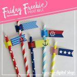 Nautical Straw Flags Free Printable