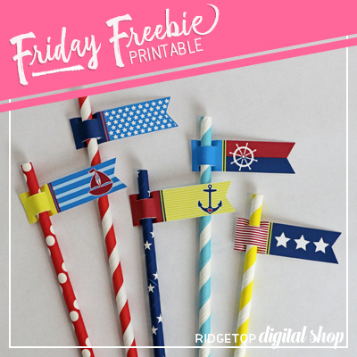 Nautical Party Straw Flags Free Printable | Ridgetop Digital Shop