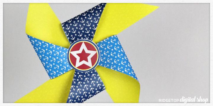 Nautical Party Free Printable Pinwheel | Ridgetop Digital Shop
