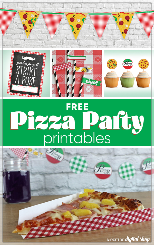 Pizza Party | Free Pizza Party Printables | Pizza Banner | Pizza Garland | Pizza Straw Flags | Team Pizza Party | Ridgetop Digital Shop