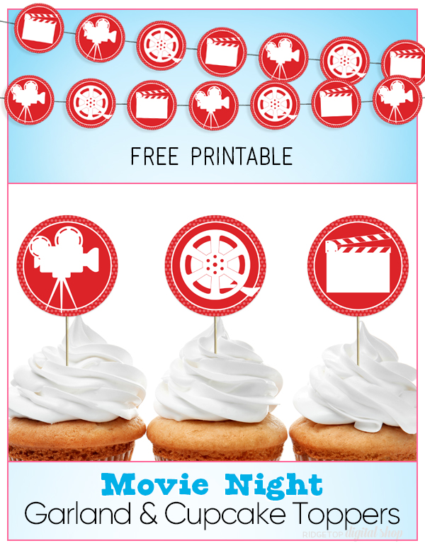 Movie Party Circles Free Printable | Budget friendly party decor | Movie Night Photo Booth | Movie Night Banner free printable | Ridgetop Digital Shop