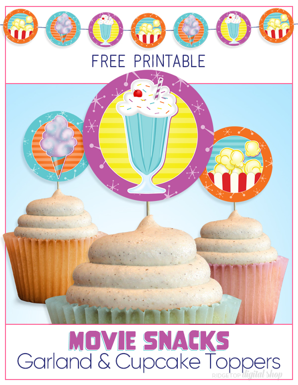 Movie Snacks Party Circles Free Printable | Movie Night Garland | Movie Night Banner | Movie Night Cupcake Toppers | Outdoor Movie Fun | Ridgetop Digital Shop