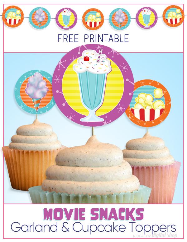 Movie Snacks Party Circles Free Printable   Movie Night Garland   Movie Night Banner   Movie Night Cupcake Toppers   Outdoor Movie Fun   Ridgetop Digital Shop