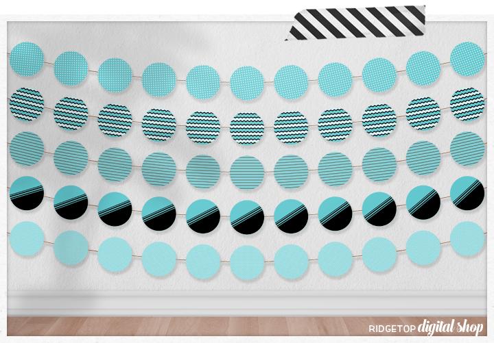 Aqua Party Circles Free Printable | Aqua Banner Garland | Aqua Party Decor | Ridgetop Digital Shop