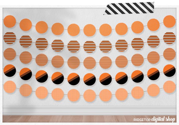 Orange Party Circles Free Printable   Orange Party Theme   Orange Birthday Party   Halloween Party Printable Free   Orange Party Decor   Ridgetop Digital Shop