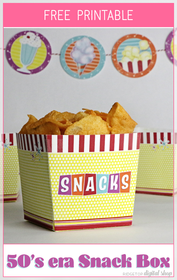 Snacks Box Free Printable   50's Party Printable   Birthday Table Decor   Party Food   Ridgetop Digital Shop