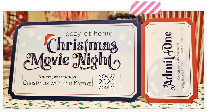 Ridgetop Digital Shop | Christmas Movie Night at Home Editable Ticket Free Printable