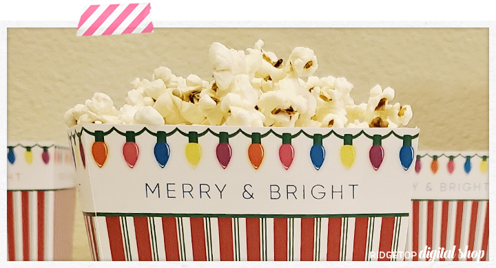 Ridgetop Digital Shop | Merry and Bright Christmas Popcorn Box Free Printable