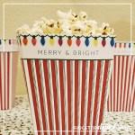 Merry and Bright Christmas Popcorn Box Free Printable