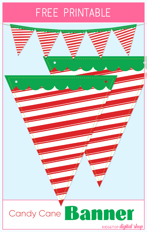 Ridgetop Digital Shop | Candy Cane Pennant Banner Free Printable | Holiday Decor Printable Free | Christmas Cocoa Bar Free Printable Banner
