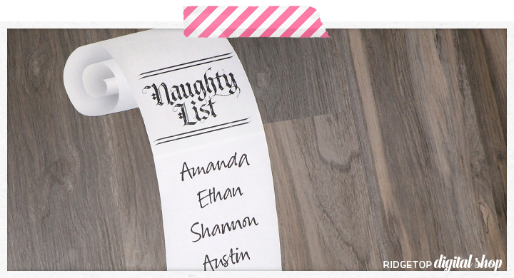 2020 Naughty List Free Printable | Ridgetop Digital Shop