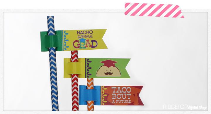 Nacho Average Grad Straw Flags Free Printable   Taco Theme Graduation Party   Ridgetop Digital Shop