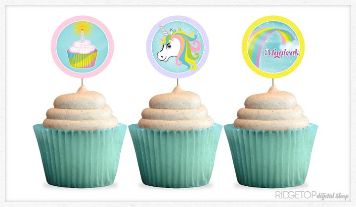 Unicorn Cupcake Toppers Free Printable | Ridgetop Digital Shop