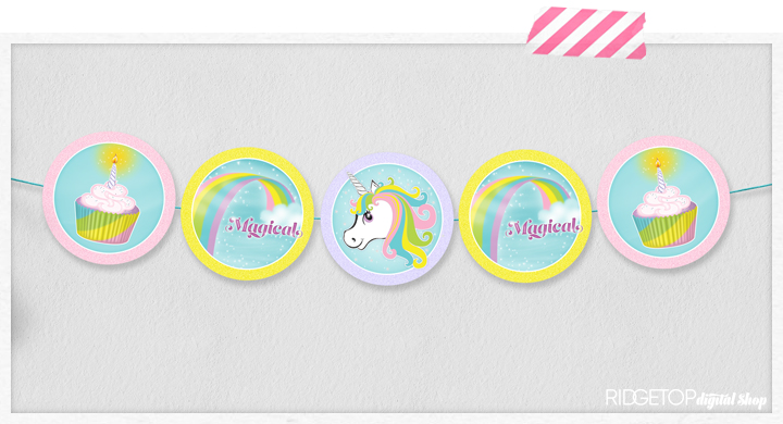 Unicorn Garland and Cupcake Toppers Free Printable | Unicorn Banner | Ridgetop Digital Shop
