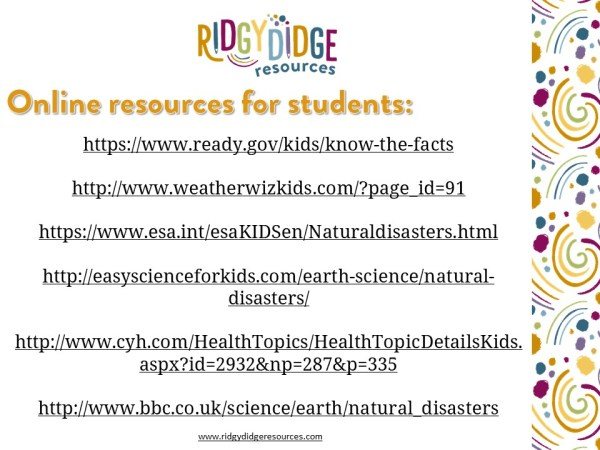Natural Disasters Additional Resources   Ridgy Didge Resources   Australia
