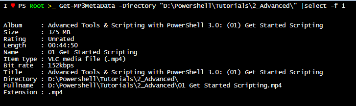 Get MP3 Tag with PowerShell