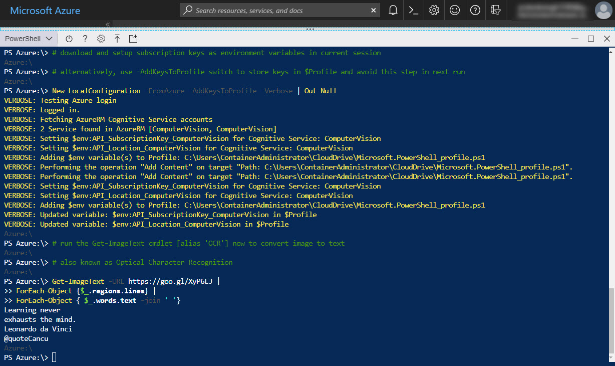Optical Character Recognition in Azure Cloud Shell under 2 mins