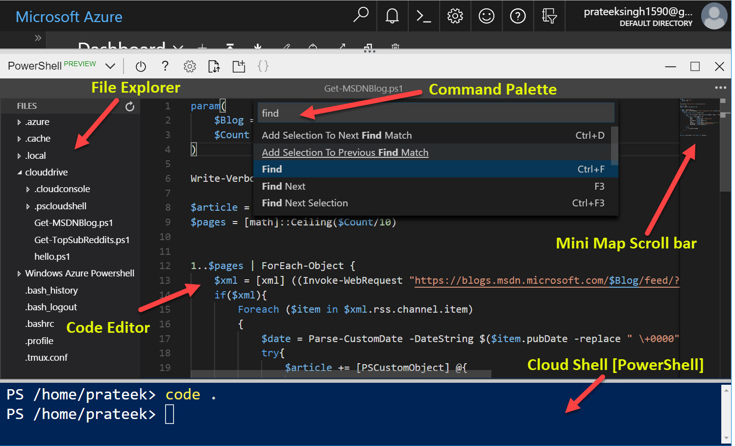 Monaco Editor - Full Code Editor experience in Azure Cloud Shell