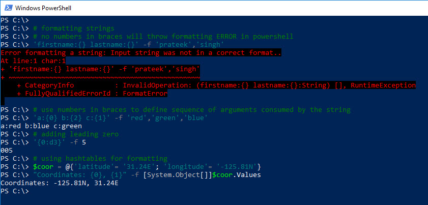 PowerShell Guide to Python String Formatting