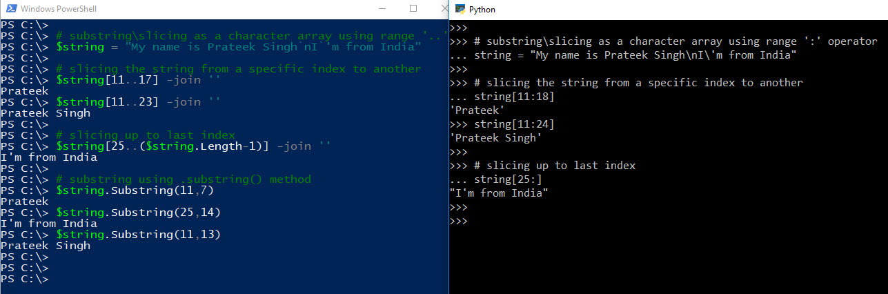 PowerShell Guide to Python SubString | RidiCurious com