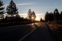 Sunrise at Mammoth Lakes. Hitting the road early to get the most of a long ride down to Bishop and Lone Pine. Mammoth Lakes, CA, USA
