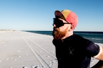 Taking a breather on the beach. Reece and I decided to timetrial a 30km section of stunning coastal road. Pensacola Beach, FL, USA