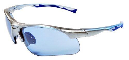 Sunglasses JM12 Sports Wrap for Baseball, Softball, Cycling,Golf TR90 Frame Mirror Lens (Silver & Ice Blue)