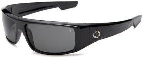 Spy Optic Men's Logan Wrap Sunglasses,Shiny Black Frame/Grey Lens,one size