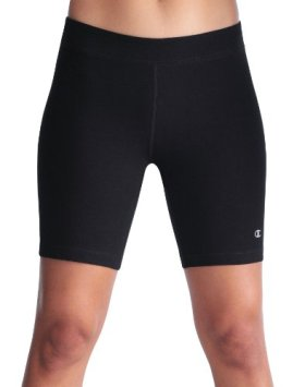 Champion Double Dry® Cotton-Rich FITTED 7″ Women's Bike Shorts, L-Black