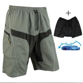 Santic Mens Mountain Loose-fit Biking Shorts Padded Coolmax Cycling MTB Short Size L