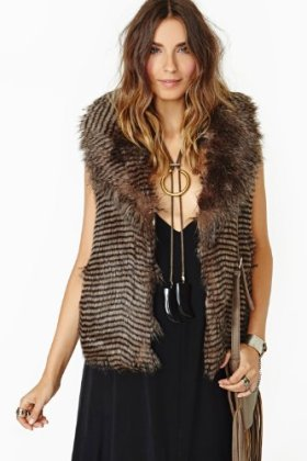 Haoduoyi wave stripe sleeveless turn-down collar fur vest Size S