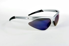 Semi-Rimless Sport Wrap Around Rake Sunglasses – Blue Mirror Lenses
