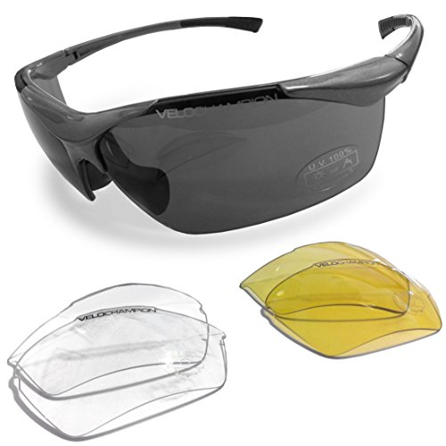 VeloChampion Tornado Cycling Running Sports Sunglasses – Black with 3 Sets of Interchangeable Lenses and Soft Carry Pouch