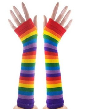Female Girl Arm Warmer Gloves Fingerless Multi Patterns (Rainbow)