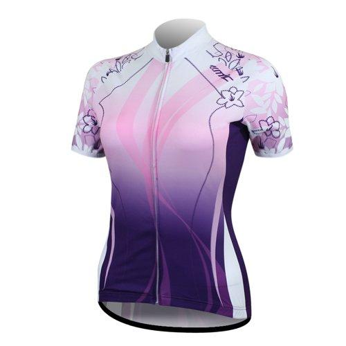 Santic Women Cycling Quick-dry Biking Short-sleeve Jersey Purple Size S
