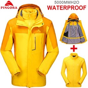 PINGORA Men's Fashion Himalaya 2 in 1 Waterproof Rain Jacket coat set with Fleece Jacket