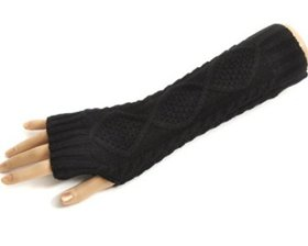 Crazy Shopping Lady Girl diamond twist knitting warm gloves black