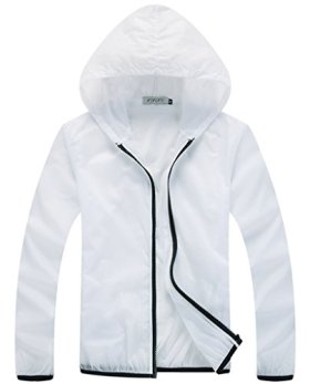 Z-SHOW Womens Super Lightweight Jacket Quick Dry Windproof Skin Coat-Sun Protection (White,L)