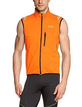 GORE BIKE WEAR Men's Element Windstopper Soft Shell Vest, Blaze Orange/Black, Small