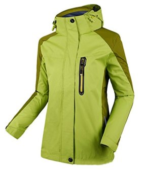Cloudy Hooded Waterproof Jacket Softshell Women Sportswear(Yellowish Green,US L/Asian3XL)