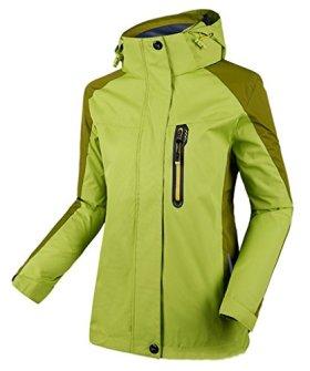 Cloudy Hooded Waterproof Jacket Softshell Women Sportswear(Yellowish Green,US L/Asian3XL)